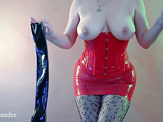 Wearing Latex Rubber Long Opera Gloves High Quality Video