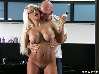 nice blonde big tits stimulated by a horny male