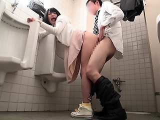 Horny Asian schoolgirl pounded doggystyle in a public toilet