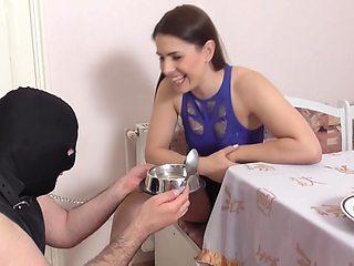 Femdom Ladies Humiliate Slave With Feeding