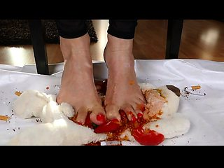 Dominant brunette in high heels uses her sexy feet to punish