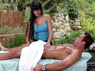 Brunette chica with juicy breasts opens her legs to take hard dick in her love hole
