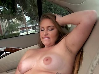Amateur college girl Emily Rose needs a ride and pays with her pussy