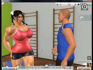 3d sex in the gym with female bodybuilder and fitness girl