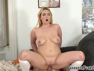 Busty slut fucks old senior man