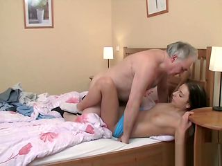 Young babe deepthroats old shaft