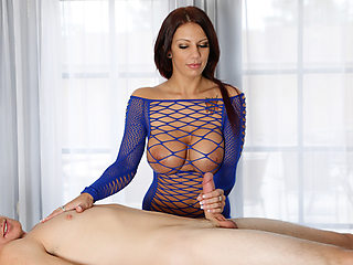 Busty and pretty Lylith Lavey uses her huge boobs to milk her client