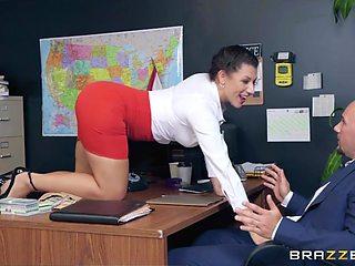Sexually charged milf secretary Valentina Jewels seduces her boss J Mac