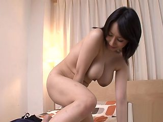 Big tits Japanese MILF with soft voice toys her pussy