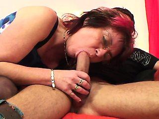 Punky pierced granny loves to suck  fuck