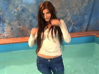 Sex Wet Girl getting wet in Pool and Shower and Ripping Her Wet Clothes