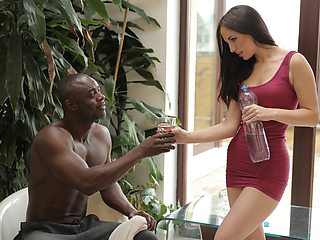 VIP4K. Beautiful gym worker lets loose with a muscular black stud