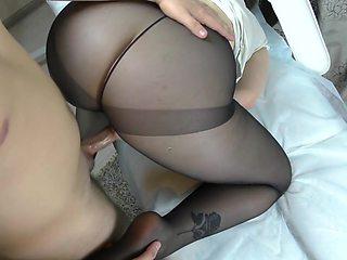 Amateur Teen Big Ass in Pantyhose Assjob, Footjob, Handjob
