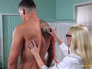 Blonde nurse Madison Scott helps her patient empty his balls