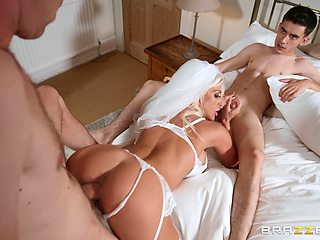 Sienna Day fucked by two handsome dudes on the day of her wedding