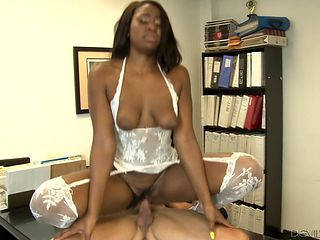 Brunette african is curious about interracial fucking