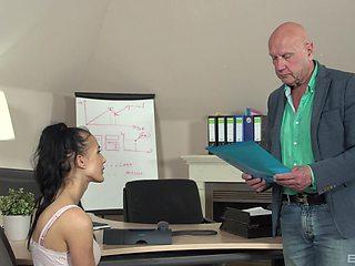 Old bald boss fucks his attractive brunette secretary Nicole Love