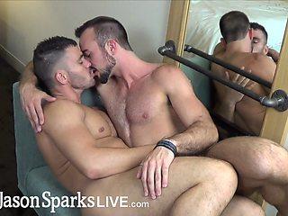 JasonSparksLive - Straight first time jock gets monster cock breeding