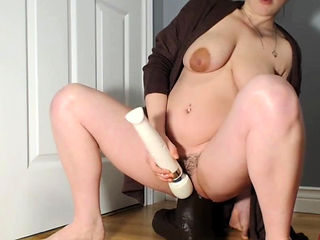 Gigantic BBC Dildo Wrecks Her Greedy Young Pussy