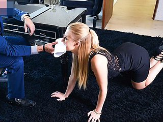 Blonde in glasses allows the boss to dominate her in the office...