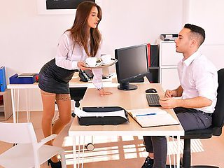 Secretary in stockings entertains her boss hot sex...