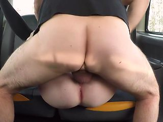 Redhead girl in stockings gets sex in the car and cums right inside...