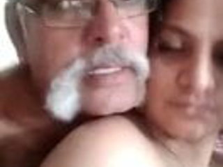 Indian old guy and young aunty