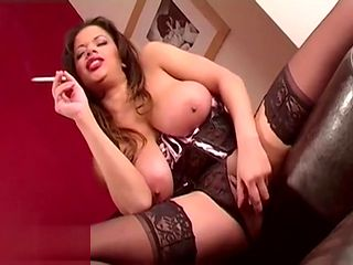 busty mature Mom smoking tease and toying