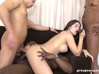 Naked men roughly fuck the same babe until she falls exhausted