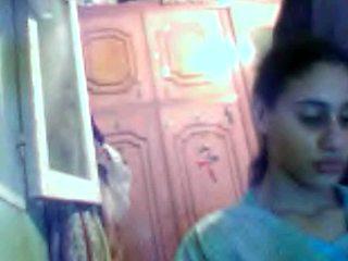 Busty Arab babe gives me handjob in amateur webcam vid