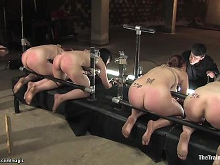 Slaves Bound In Device Butts Whipped