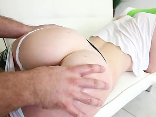 Slutty blonde allows bald fellow to impale her asshole