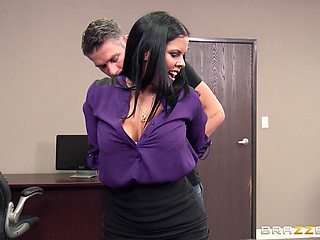 Sexy pornstar Diamond Kitty on her knees sucking her boss's dick