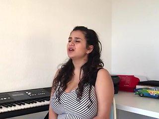 Busty arab woman dancing and singing