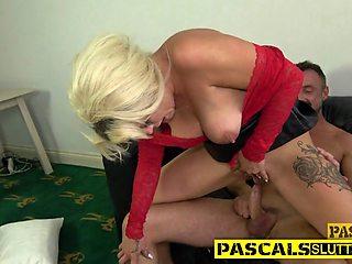 Trashy MILF riding dick
