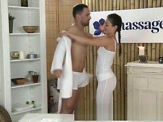Horny young masseuse fucks big dick and has intense orgasm