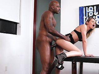 Female agent checks fucking skills of a black man at porn casting