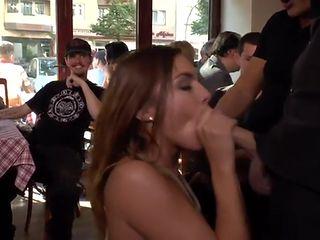 German slut banged in public bar