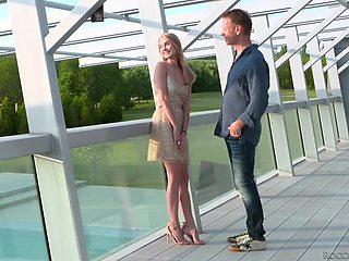 Cute blonde with blue eyes Nancy Ace is eating cum after passionate sex