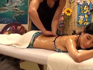 Soft massage leads perfect Japanese honey to intriguing fuck moments