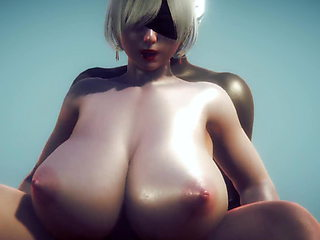 2B 3d CG animation sex with big tits