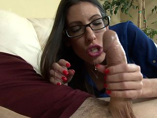 Brunette with big boobs warms man up and takes his meat stick