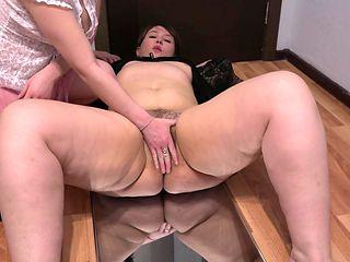 Lesbian fucks her fat girlfriend with a big black dildo