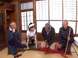 Two old Japanese dudes fuck one younger hottie Ayumi Kimino