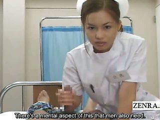 Subtitled POV Japanese nurse handjob clinic education