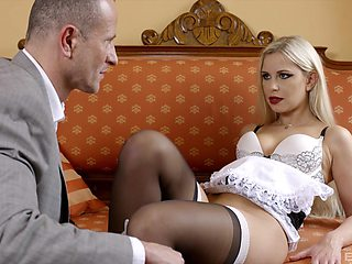House maid Lola Blond drops her miniskirt to be fucked by the boss