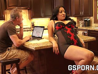 Busty milf in erotic lingerie fucking at home