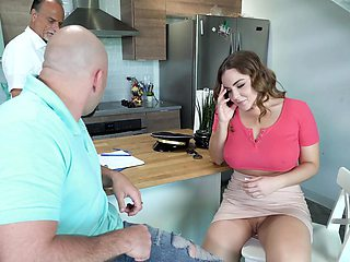 Hot couch sex with the boyfriend while her dad is still around