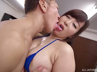 Standing doggy after amazing fingering and blowing is Kaori's wish