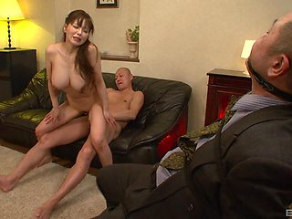 Nice tits Asian babe opens her legs to be fucked by lot of dudes